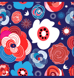 seamless summer floral pattern roses vector image