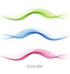 set abstract wave pattern blue wave green vector image