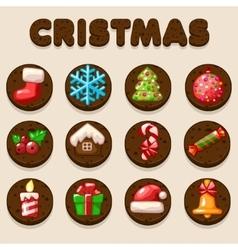 Set Cartoon Christmas Chocolate biskvit cookies vector