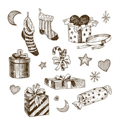 set christmas toys for children socks vector image