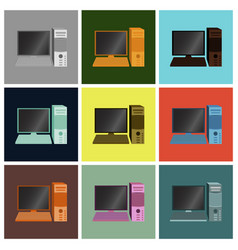 Set icons in flat design computer vector