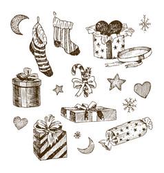 set of christmas toys for children socks for vector image