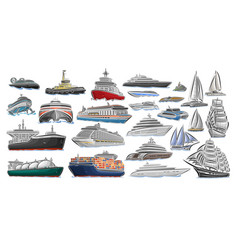 Set of different ships and boats vector