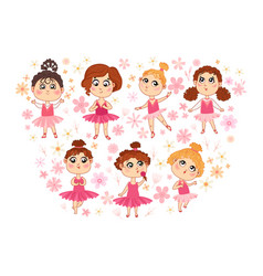 set of isolated cute ballerina vector image
