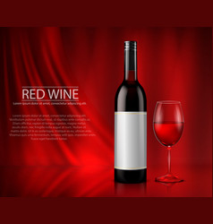 set of realistic of glass wine vector image