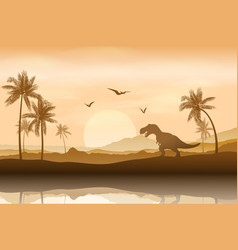 Silhouette of a dinosaur in riverbank background vector