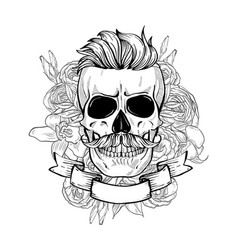 Skull with hairstyle and moustaches vector