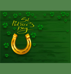 st patricks day text greeting card golden vector image