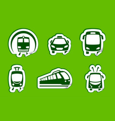 stickers with municipal transportation images vector image