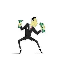 Successful Businessman dancing with money vector image