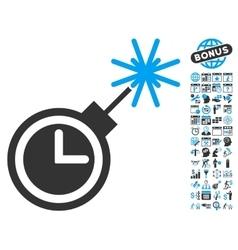 Time Bomb Flat Icon With Bonus vector image