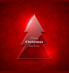 transparent glass christmas tree with glowing vector image