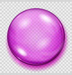 transparent pink sphere with shadow vector image