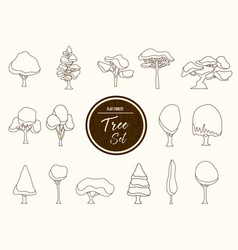 tree set outline in hand drawn style vector image