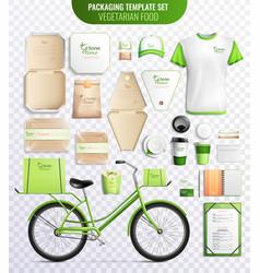 Vegetarian food packaging template set vector