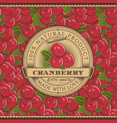 Vintage cranberry label on seamless pattern vector