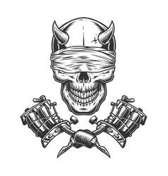 Vintage monochrome demon skull vector