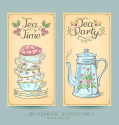 vintage posters pastries and tea vector image
