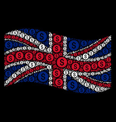 waving united kingdom flag collage of bank seal vector image