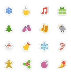 Winter flat stickers icon set on white vector image