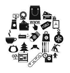 winter shopping icons set simple style vector image