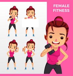woman female fitness mascot character set logo vector image