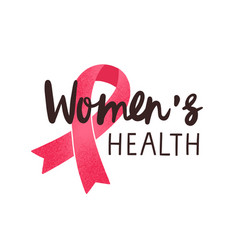 women health handwritten lettering breast vector image