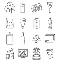 World recycles day icon set outline style vector