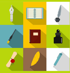writer equipment icons set flat style vector image