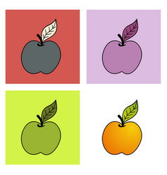 Yellow apple on white background vector