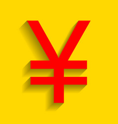 yen sign red icon with soft shadow on vector image vector image
