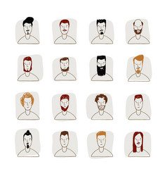 young man avatar hand drawn style icon set vector image