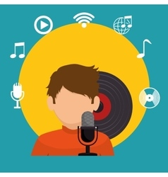boy character sniging lp music icons vector image