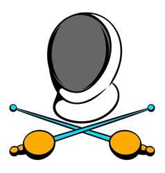Fencing swords and helmet mask icon icon cartoon vector