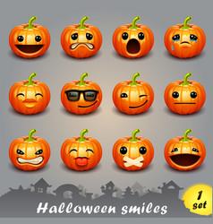 halloween smiles-set 1 vector image vector image