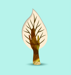 hand tree nature art for environment help vector image vector image