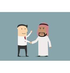 Handshake of european and arab businessmen vector