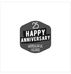 Happy 25th anniversary badge sign and emblem vector image