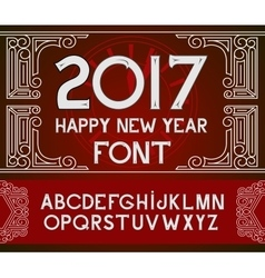 Happy New Year 2017 hand-lettering text on red vector image vector image