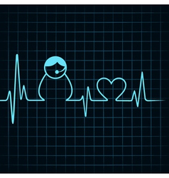 Heartbeat make a contact us icon and heart symbol vector image