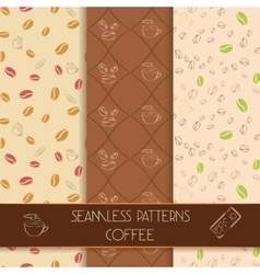 Three classic coffee patterns vector image vector image