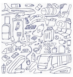 Airport Doodle Set vector image vector image