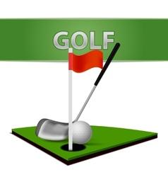 Golf Ball Club and Green Grass Emblem vector image