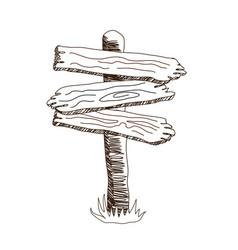 Three arrow shapes sketch wooden sign vector