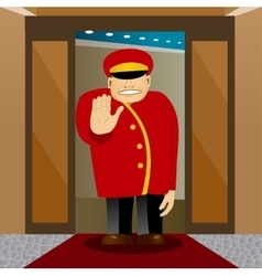 bellhop showing stop gesture vector image