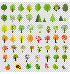 big nature set with trees vector image vector image