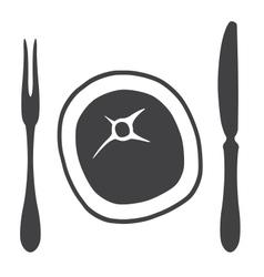 Cutlery knife fork steak - vector