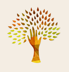 hand tree concept for nature help vector image vector image