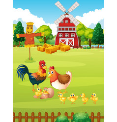 many chickens on the farm vector image vector image