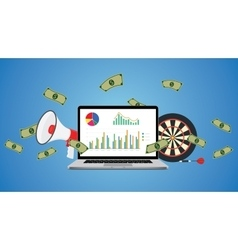 online business with graph money vector image vector image